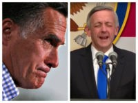 Collage of Mitt Romney profile and Pastor Robert Jeffress as he prays at the opening of the U.S. embassy in Jerusalem.