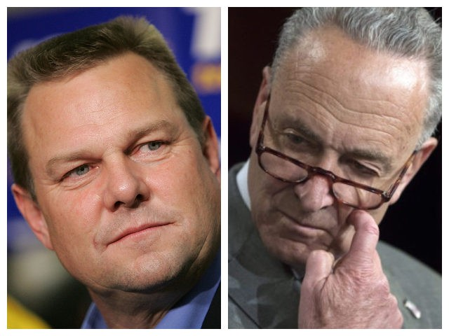 Collage of Jon Tester and Chuck Schumer