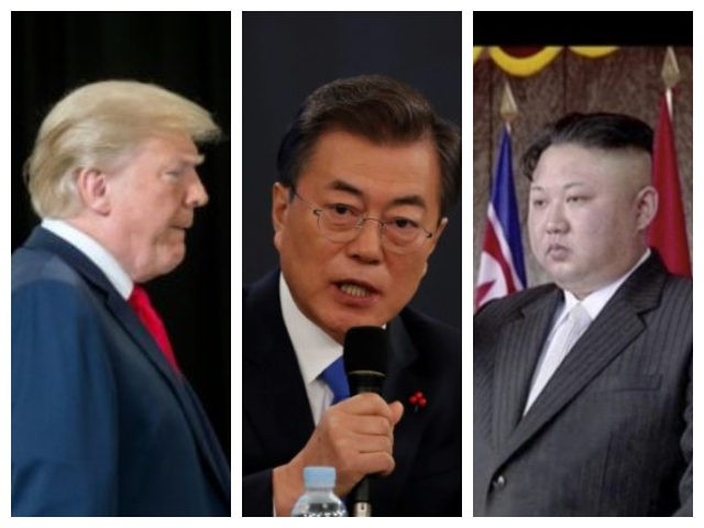 Collage of Trump, Moon, and Kim