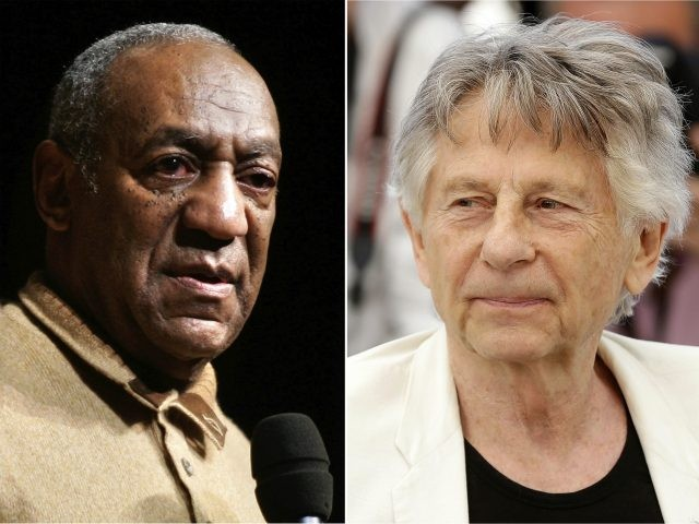 "In this combination photo, Bill Cosby speaks to an audience on the campus of University of the District of Columbia in Washington on May 16, 2006 , left, and director Roman Polanski appears at the photo call for the film, ""Based On A True Story,"" at the 70th international film …"