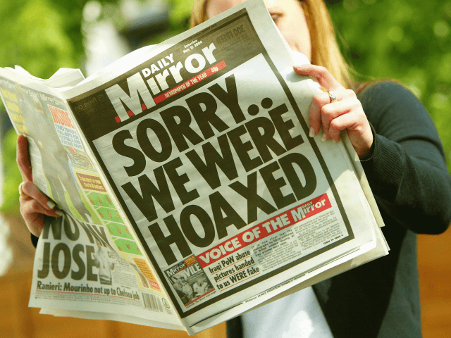 LONDON ? MAY 15: The front page of London's Daily Mirror newspaper is seen in this photo illustration with a headline apologizing for running fabricated pictures purporting to show British soldiers abusing Iraqi prisoners ? a claim which forced the editor Piers Morgan to resign after it was refuted by …