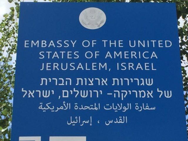 Embassy sign (Joel Pollak / Breitbart News)