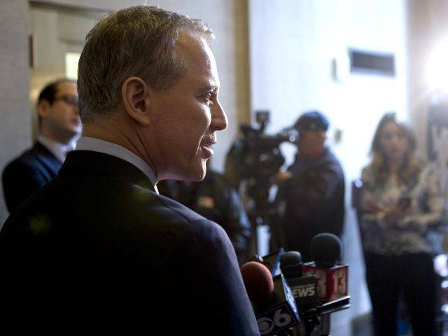 New York Attorney General Eric Schneiderman talks to media members after Law Day at the Court of Appeals on Monday, May 2, 2016, in Albany, N.Y. (AP Photo/Mike Groll)