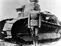 George S. Patton with a World War I FT-17 tank