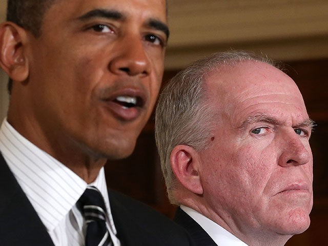 WASHINGTON, DC - JANUARY 07: U.S. President Barack Obama (L) speaks as Deputy National Security Advisor for Homeland Security and Counterterrorism John Brennan (R) listens while making personnel announcements during an event in the East Room at the White House, on January 7, 2013 in Washington, DC. President Obama has …