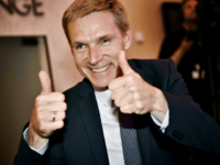 Kristian Thulesen Dahl, party leader of The Danish Peoples Party celebrates after the election in Copenhagen on June 18, 2015. Danish Prime Minister Helle Thorning-Schmidt resigned as Social Democratic party leader after a record score for an anti-immigration party lifted the opposition right-wing bloc to victory. Denmark's anti-immigration Danish People's …