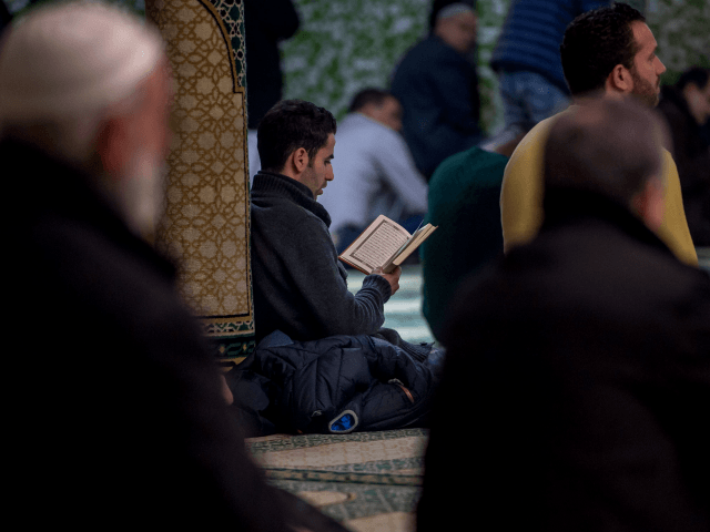 A Muslim man reads from the Koran at the Grand Mosque in Brussels on Match 25, 2016, as Muslims gathered for the first Friday prayers in the wake of the suicide attacks at Brussels airport and a metro station that left 31 people dead and 300 wounded and were claimed …