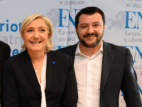 (L-R) Geert Wilders of the Dutch far-right Freedom Party, the chairwoman of the anti-immigration Alternative for Germany (AfD) Frauke Petry, the Secretary General of the Austrian Freedom Party (FPÖ) Harald Vilimsky, French National Front (FN) leader Marine Le Pen and Italy's Lega Nord Party leader Matteo Salvini give a press …