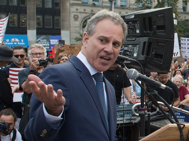 "NY Attorney General Eric Schneiderman speaks at a rally to defend DACA on September 5, 2017 in New York. US President Donald Trump ended an amnesty protecting 800,000 people brought to the US illegally as minors from deportation. ""I am here today to announce that the program known as DACA …"
