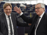 European Commission President Jean-Claude Juncker (R) speaks with European Parliament Brexit chief Guy Verhofstadt prior to a plenary session at the European Parliament on February 6, 2018 in Strasbourg, eastern France. / AFP PHOTO / FREDERICK FLORIN (Photo credit should read FREDERICK FLORIN/AFP/Getty Images)