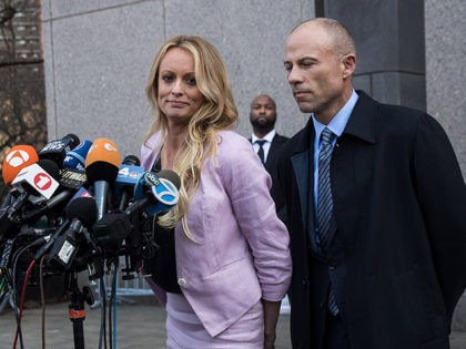 NEW YORK, NY - APRIL 16: (L to R) Adult film actress Stormy Daniels (Stephanie Clifford) and Michael Avenatti, attorney for Stormy Daniels, speak to the media as they exit the United States District Court Southern District of New York for a hearing related to Michael Cohen, President Trump's longtime …