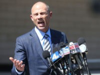 LOS ANGELES, CA - APRIL 20: Michael Avenatti, attorney for Stephanie Clifford, also known as adult film actress Stormy Daniels, speaks to reporters after leaving the U.S. District Court for the Central District of California on April 20, 2018 in Los Angeles, California. Avenatti attended a hearing about Clifford's lawsuit …