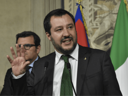 Matteo Salvini, leader of the far-right party League (Liga) speaks to the press after a meeting with Italian President Sergio Mattarella on May 21, 2018 at the Quirinale palace in Rome. - Italy's anti-establishment Five Star Movement (M5S) and the far-right League party meet President Mattarella today to present their …