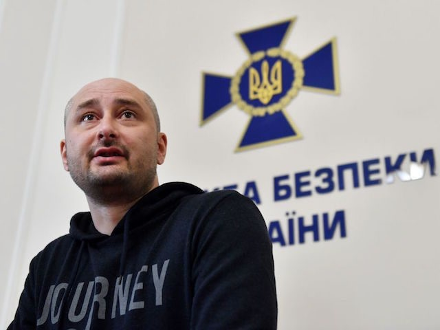 Anti-Kremlin Russian journalist Arkady Babchenko speaks during the press-conference in Ukrainian Security Service in Kiev on May 30, 2018. - Ukraine admitted it had staged the murder of anti-Kremlin journalist Arkady Babchenko in order to foil an attempt on his life by Russia, a stunning development in a case that …