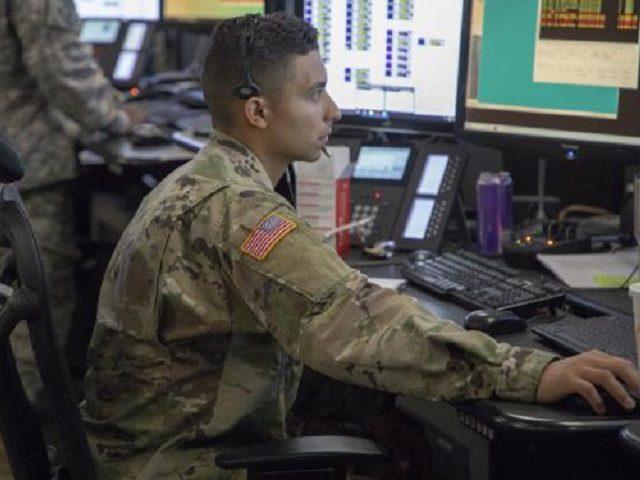 National Guardsman deployed to the Yuma Sector monitors communications systems. (Photo: U.S. Border Patrol/Agent Sears Taylor)