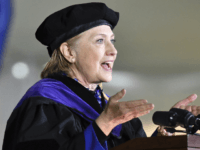 FILE - In this May 26, 2017, file photo, former Secretary of State Hillary Clinton delivers the commencement address at Wellesley College in Wellesley, Mass. Clinton is scheduled to be the speaker at Yale's class day on Sunday, May 20, 2018. An Associated Press analysis found that two-thirds of the …