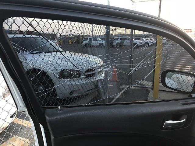Border Patrol vehicle damaged with struck by caltrop deployed by fleeing alleged drug smuggler. (Photo: U.S. Border Patrol)