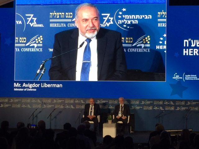 Liberman at IDC Herzliya (Joel Pollak / Breitbart News)