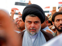 Shiite cleric Moqtada al-Sadr attends the demonstration against the western bombings of Syria, which he called for, on april 15, 2018, in Najaf. - US, French and British missiles destroyed sites suspected of hosting chemical arms development and storage facilities but the buildings were mostly empty and the Western trio …
