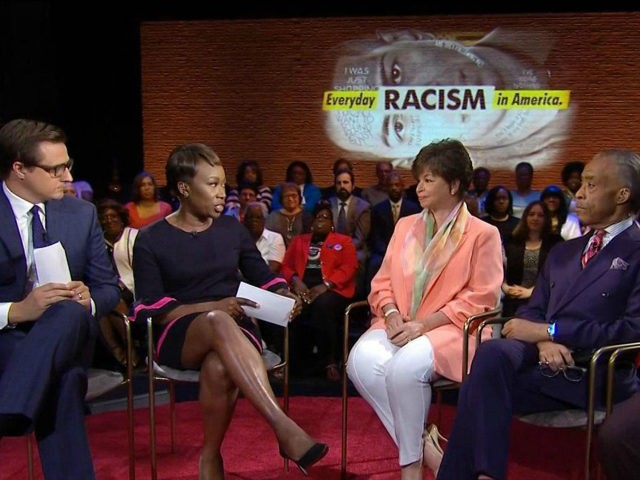 "Just hours after Roseanne Barr was fired by ABC over a racist tweet, NBC allowed Joy Reid to co-host a town hall event on ""Everyday Racism in America"" on MSNBC."