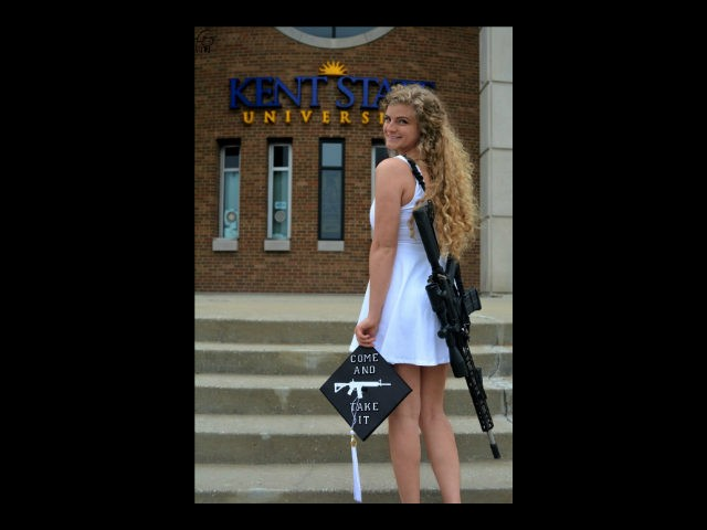 "Kent State University graduate Kaitlin Bennett posted a photo of herself walking on campus with an AR-10 demanding ""#CampusCarryNow."""