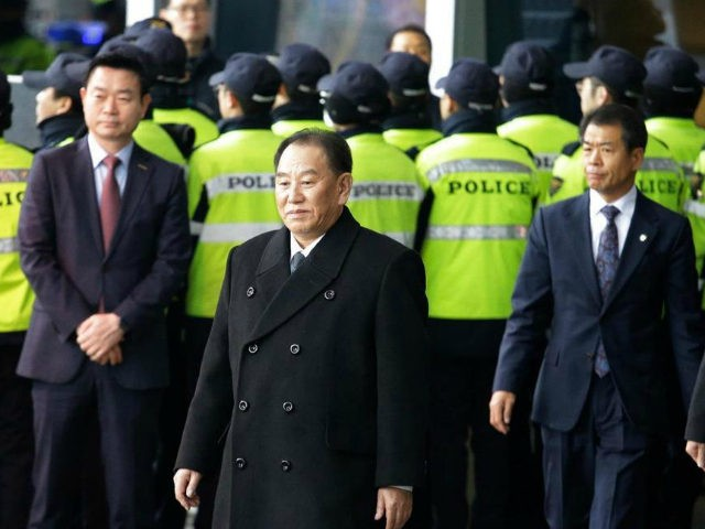 In this Feb. 27, 2018, file photo, Kim Yong Chol, center, a vice chairman of North Korea's ruling Workers' Party Central Committee, leaves to return to North Korea, at a hotel in Seoul, South Korea, (AP Photo/Ahn Young-joon, File)