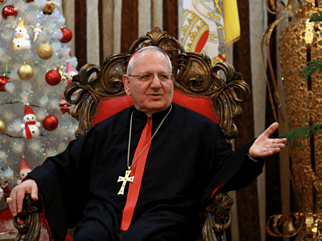 """In this Monday, Dec. 18, 2017 photo, Louis Raphael Sako, Chaldean Patriarch speaks during an interview with The Associated Press in Baghdad, Iraq. The head of Iraq's Chaldean Church says that battling extremist """"mentality"""" is key to peaceful coexistence among Iraq's religious and ethnic groups as the nation emerges from …"""