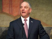Louisiana Gov. John Bel Edwards talks about his proposal to spend state surplus dollars, Wednesday, March 28, 2018, in Baton Rouge, La.(AP Photo/Melinda Deslatte)