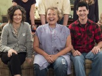 "Roseanne Barr, Sara Gilbert, and Michael Fishman on the set of ABC's ""Roseanne"" (2018)."