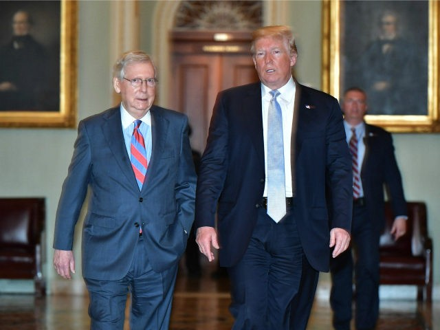 US President Donald Trump and US Senate Majority Leader Mitch McConnell make their way to a Senate Republican policy lunch at the US Capitol in Washington, DC on May 15, 2018. (Photo by MANDEL NGAN / AFP) (Photo credit should read MANDEL NGAN/AFP/Getty Images)
