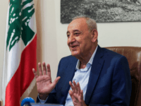 Longtime Lebanese Parliament Speaker Nabih Berri gives an interview with AFP in his home on Msaileh, south of the southern port city of Sidon, on May 8, 2018. - Lebanon's powerful parliament speaker said in an interview on May 8 that the general election's results vindicated a formula in which …
