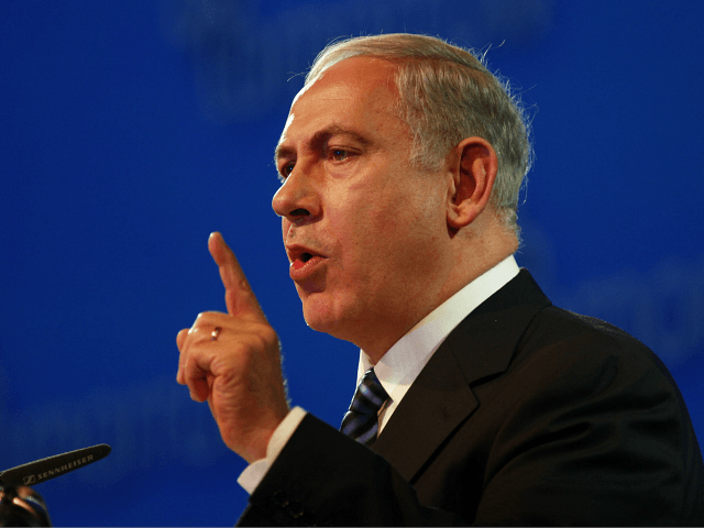 Israeli Prime Minister Benjamin Netanyahu gestures as he delivers a speech during the Israel Presidential Conference in Jerusalem on June 20, 2013. Europe must take a firmer line with Iran over its controversial nuclear programme, Israeli Prime Minister Benjamin Netanyahu said at the start of a working meeting with EU …