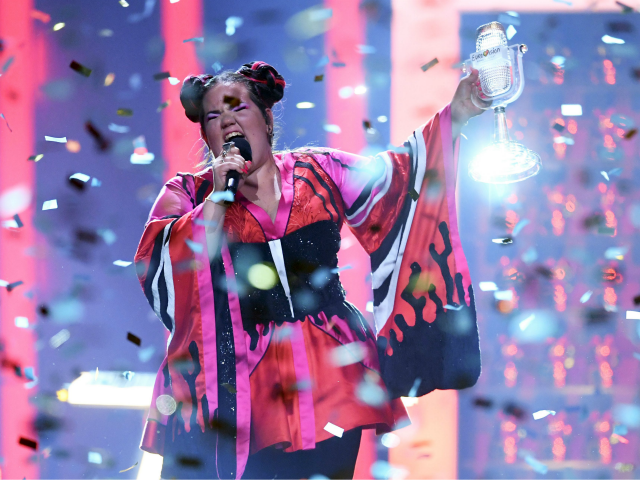 Israel's singer Netta Barzilai aka Netta performs with the trophy after winning the final of the 63rd edition of the Eurovision Song Contest 2018 at the Altice Arena in Lisbon, on May 12, 2018. (Photo by Francisco LEONG / AFP) (Photo credit should read FRANCISCO LEONG/AFP/Getty Images)