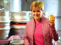 BARRHEAD, SCOTLAND - JUNE 02: SNP leader Nicola Sturgeon has a ping of beer as she takes a tour of Kelburn Brewery while campaigning for the General Election on June 2, 2017 in Barrhead, East Renfrewshire, Scotland. Polls are showing the SNP out in front and the Conservatives set to …