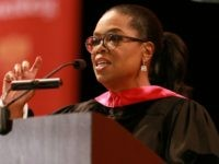 Media producer Oprah Winfrey addresses The USC Annenberg School For Communication And Journalism Celebrates Commencement at The Shrine Auditorium on May 11, 2018 in Los Angeles, California. (Photo by Leon Bennett/Getty Images)