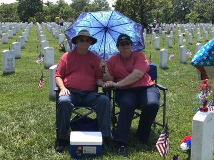 Louis and Sandra Parker visited their son's grave on Thursday, and again on Saturday. (Kristina Wong/Breitbart News)