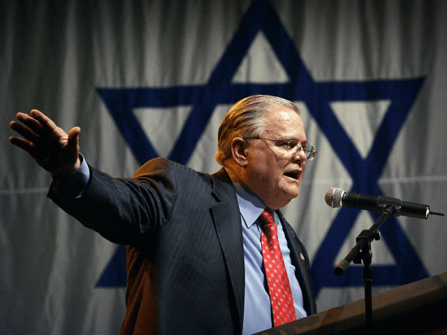 "In this April 6, 2008, file photo influential Texas evangelist John Hagee of Christians United for Israel addresses a crowd of his followers and Israeli supporters at a rally at the Jerusalem convention center. ""In my zeal to oppose anti-Semitism and bigotry in all its ugly forms, I have often …"