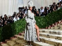 Rihanna arrives for the 2018 Met Gala on May 7, 2018, at the Metropolitan Museum of Art in New York. - The Gala raises money for the Metropolitan Museum of Arts Costume Institute. The Gala's 2018 theme is Heavenly Bodies: Fashion and the Catholic Imagination. (Photo by Hector RETAMAL / …