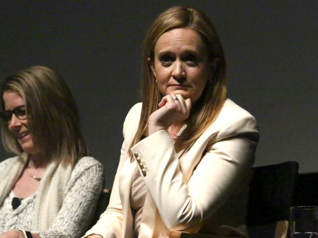 Writer Jo Miller and TV Host Samantha Bee speak on stage during panel discussion for Tribeca Tune In: Full Frontal With Samanta Bee at SVA Theatre 1 on April 19, 2016 in New York City. (Photo by Astrid Stawiarz/Getty Images for Tribeca Film Festival)
