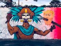 Trump Aztec mural (Sasha Andrade / Facebook)