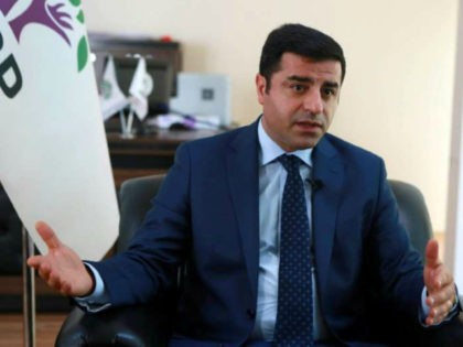 co-leader of the pro-Kurdish People's Democratic Party (HDP) Selahattin Demirtas speaks during an interview on July 22, 2016 in Ankara. / AFP / ADEM ALTAN (Photo credit should read ADEM ALTAN/AFP/Getty Images)