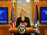 WASHINGTON, DC - NOVEMBER 30: U.S. Department of State spokesperson Heather Nauert speaks in the press briefing room at the Department of State on November 30, 2017 in Washington, DC. Nauert addressed the media on Thursday about Secretary of State Rex Tillerson and his future at the State Department. (Photo …