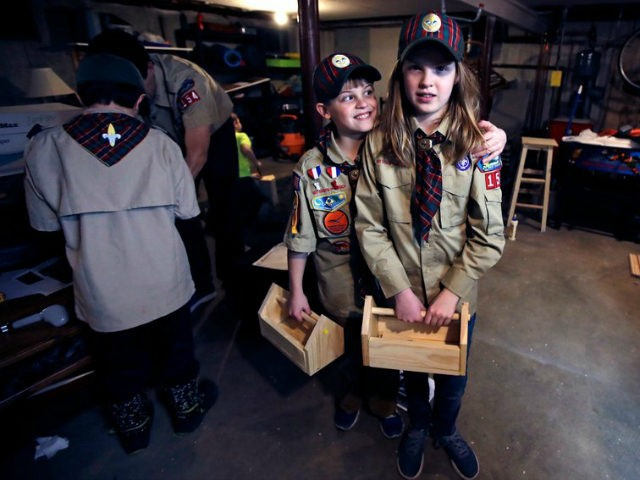 "In a Thursday, March 1, 2018 photo, Tatum Weir, right, poses with her twin brother Ian, left, after a cub scout meeting where they each built a tool box in Madbury, N.H. Fifteen communities in New Hampshire are part of an ""early adopter"" program to allow girls to become Cub …"