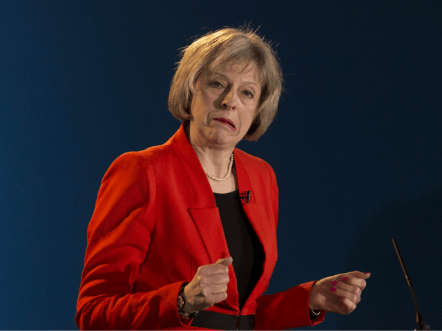 CARDIFF, WALES - FEBRUARY 28: Home Secretary Theresa May speaks during day two of the Welsh Conservative Party Conference at the SWALEC Stadium on February 28, 2015 in Cardiff, Wales. Britain goes to the polls in a general election on May 7. (Photo by Matthew Horwood/Getty Images)