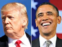 Trump Serious, Obama Laughing