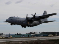 MONTE REAL, PORTUGAL - FEBRUARY 06: US Air Force C-130 takes off at Monte Real Air Force Base during Real Thaw 2018 exercise on February 06, 2018 in Monte Real, Portugal. Real Thaw 2018 (RT18) is a Portuguese Air Force led live-fly exercise to evaluate and certify their operational capability …