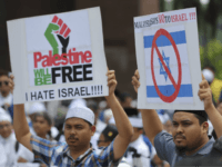 "Muslims holds placards reading ""Palestine will be Free"" and ""Anti-Israel"" during a rally at the Putra Mosque in Putrajaya, Malaysia, Friday, Dec. 22, 2017. Malaysia Prime Minister Najib Razak led a huge rally to protest the U.S.President Donald Trump's move to recognize Jerusalem as Israel's capital. (AP Photo/Vincent Thian)"