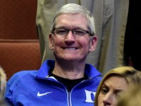 ANAHEIM, CA - MARCH 24: CEO of Apple Tim Cook is seen at halftime at the 2016 NCAA Men's Basketball Tournament West Regional at the Honda Center on March 24, 2016 in Anaheim, California. (Photo by Harry How/Getty Images)