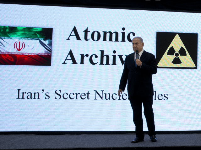 "Israeli Prime Minister Benjamin Netanyahu presents material on Iranian nuclear weapons development during a press conference in Tel Aviv, Monday, April 30 2018. Netanyahu says his government has obtained ""half a ton"" of secret Iranian documents proving the Tehran government once had a nuclear weapons program. Calling it a ""great …"