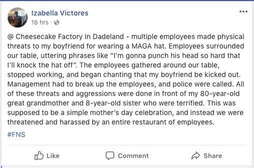 Izabella Victores's Facebook post about the incident at The Cheesecake Factory